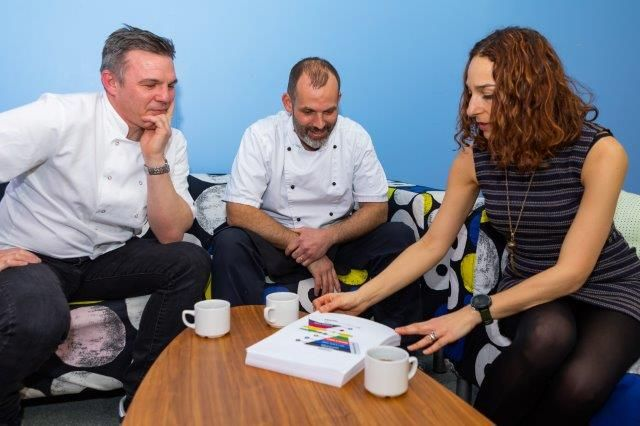 two chefs having a discussion with an agency manager