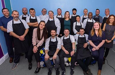 Group shot of the chefs and other staff in Bristol
